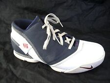 Nike ZLV zoom white navy blue basketball 2007 mens sneakers shoes sz 11.5D