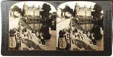 Keystone Stereoview of Women Washing Cloths, River, FRANCE from 1930's T600 Set