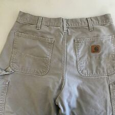 Carhartt Carpenter Work Pants Khaki Dungaree Fit Mens Tag 35 x 32 Actual 32 x 31