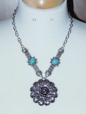 Large Tibet Silver Rose Pendant & Faux Turquoise Statement Necklace - NEW