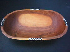 "African Oval Olive Wood Ethnic Salad Fruit Bowl - 12"" length. Fairtrade Craft"