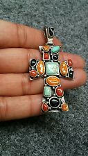 Pretty artisan studio sterling 925 turquoise coral spiny oyster cross pendant
