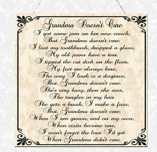 Shabby Grandma Doesn't Care Poem Wooden Sign Plaque Chic Gift Nanny Nan Nanna