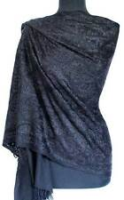 Crewel Embroidered Wool Shawl. Black on Black Kashmir Embroidery Stole Pashmina