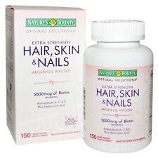 New! Hair Skin and Nails Natures Bounty Vitamin 150 softgels 5000mcg- Biotin