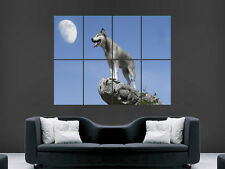 WOLF ROCK FULL MOON ART GIANT WALL POSTER PICTURE PRINT LARGE