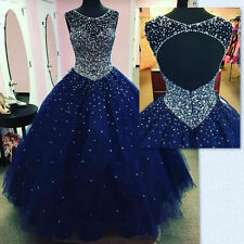 Long Navy Blue Formal Ball Gown Quinceanera Dresses Sweet 16 Prom Party Dress