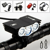 6000Lm 3xCREE XML T6 LED Headlight Head Front Bicycle Bike lamp Rear Light Torch