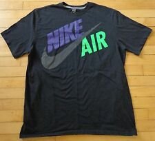 NIKE AIR JUMBO GREEN & PURPLE GRAPHIC Swoosh BLACK T-SHIRT Retro Feel Men XL