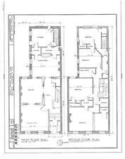 narrow lot Romanesque style home, architectural drawings, stone details