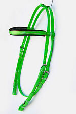 PVC Snaffle Bridle Head Lime Green / Black