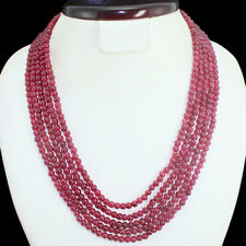 PRECIOUS 388.00 CTS EARTH MINED 5 LINE RED RUBY ROUND BEADS NECKLACE - GEM EDH