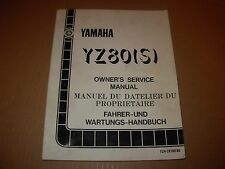 Yamaha YZ80 S Motorcycle Service Manual - mid 1980's