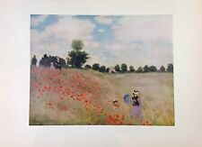 "1953 Vintage Full Color Art Plate ""FIELD OF POPPIES"" by MONET LOVELY Lithograph"