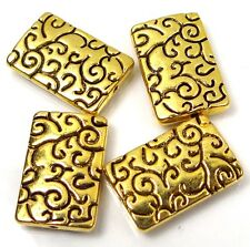 4 Pewter Large Golden Rectangle Focal Beads 23mm ~ Lead-Free ~
