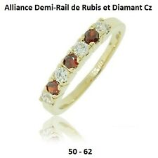 Dolly-Bijoux Alliance T50 à 62 Demi-Rail Rubis et Diamant Cz 2mm Plaqué Or 18K