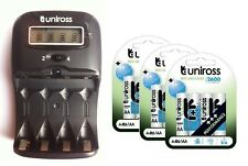 UNiROSS LCD 1-2 HOUR AA/AAA CHARGER & 12 x AA 2600 Series Rechargeable Batteries