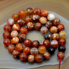 """8mm Faceted Fire Agate  Round Beads 15"""" Pick Color"""