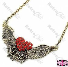 RED HEART& ROSES retro tattoo WINGS NECKLACE vintage brass ROCKABILLY rhinestone