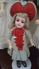 "Antique Kestner ? 11"" Cabinet Size Bisque Head Doll Factory Original Outfit"