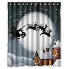 Christmas Gift Santa Claus Reindeer Waterproof Shower Curtain 60x72 Inches