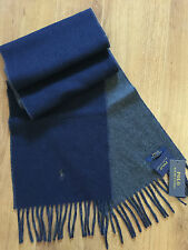 POLO RALPH LAUREN REVERSIBLE/DOUBLE FACE NAVY BLUE & GREY SCARF MADE IN ITALY