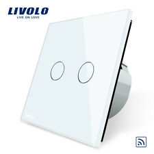 Livolo New EU Type 110-250V 2 Gang 1 Way White Wall Light Remote Touch Switch