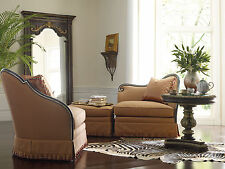 ALTO - Traditional Wood Trim Brown Fabric Two Chairs & Ottoman Set Living Room