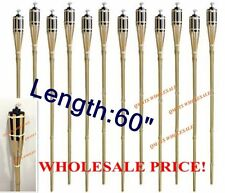 "12 Pcs 60"" NEW BAMBOO TIKI TORCHES Yard Party Garden Lamp Mosquito Metal"