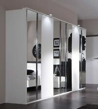 SlumberHaus German Modern Davos White Chrome Mirror 6 Door 270cm Wardrobe