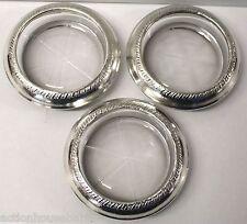 Vintage Sterling Silver Rim Coasters - Set of 3 - Pie Shape Glass Design