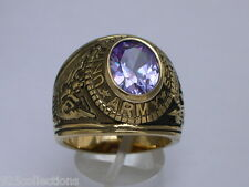 12X10 mm United States Army Military June Lt. Amethyst CZ Stone Men Ring Size 8