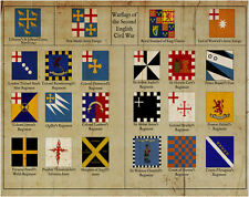 A4 Poster - Vintage Style Flags of the English Civil War (Army Picture Print)
