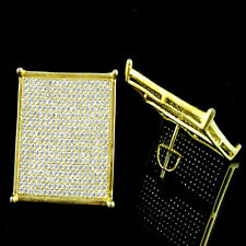Men's XL 21 MM Flat Screen White on Yellow G/P Diamond Simulated Stud Earrings