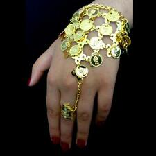 Bollywood Bauchtanz Belly Dance Handschmuck Sklavenarmband Goldmünzen Ring