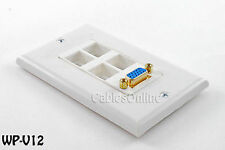 4-Port Keystone Holes w/ Built in VGA HD15 Coupler, Wall-Plate (White) - WP-V12