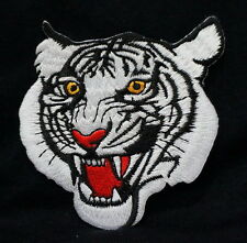 Cool WHITE TIGER Face Embroidered Iron On / Sew On Patches
