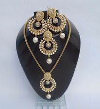 Designer Bollywood Kundan Polki Gold Plated Pearl Jewellery Bridal set free size
