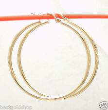 "2mm X 40mm 1 1/2"" Diamond Cut Round Hoop Earrings REAL 10K Yellow Gold"