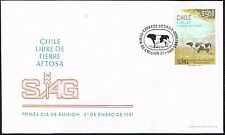CHILE 1981 FDC COVER # 995 VETERINARY FMD FOOT AND MOUTH DISEASE