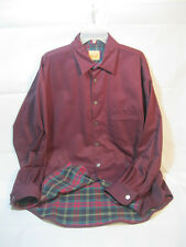 NEW STUBBS Western Shirt LARGE Maroon w/ Flannel Lining and Fish Buttons