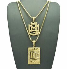 "Hip Hop Iced Out Micro CZ MMG, DC Pendant w/ 24"",30"" Box Chain 2 Necklace Set"