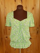 NEXT lime apple green white floral short sleeve v neck tunic blouse top 8 36