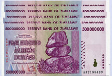 Zimbabwe 500 Million Dollars x 5 notes AA/AB serial 2008 P82 UNC currency bills