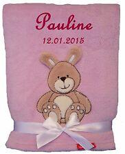 Babydecke rosa Hase mit Namen bestickt Baby Decke Taufe Geburt Geschenk Name