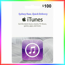 "$100 Australian iTunes Gift Card for Music,Movies,Books,Apps ""Get it Quick"""