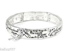 Lord's Prayer Father God Heaven Kingdom Cross Stretch New Charm Bracelet #374-C