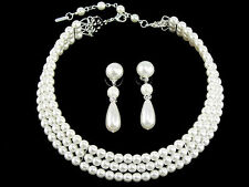 GiftBoxed Classic Silver Plt Bridal 3 Row Faux White Pearl Choker Necklace Set