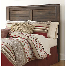 Queen Size Panel Headboard Reclaimed Vintage Weathered Finish Warm Wood Slat