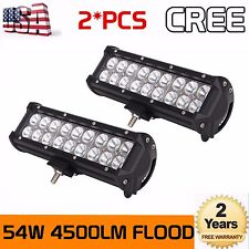 2X 54w 9''Inch CREE Led Work Light Bar Flood Beam Offroad Driving Truck SUV 4WD